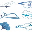 Airplanes flying in the cloudy sky — Stock Vector #75331229