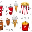 Fast food and drinks cartoon characters — Stock Vector #75331267