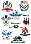 Sporting game emblems with heraldic elements — Stock Vector