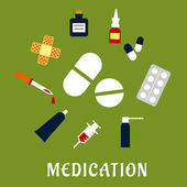 Pills, drugs and medical icons — Stock Vector