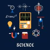 Science physics flat icons set — Stock Vector