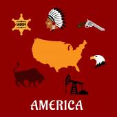 American cultural and historical symbols — Stock Vector