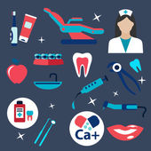 Dentistry and hygiene flat icons — Stock Vector