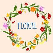 Blumen Kranz mit Blumen und Kräuter Laub — Stockvektor