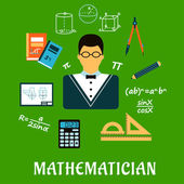 Mathematician or teacher with education objects — Stock Vector