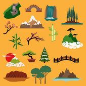 Nature landscape elements and buildings — Stock Vector