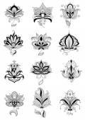 Schwarze persische blumen mit paisley ornamente — Stockvektor