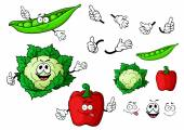 Cartoon cauliflower, bell pepper and pea pod vegetables — Stock Vector