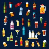 Beverages and drinks flat icons set — Stock Vector