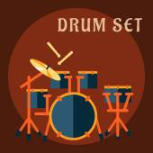 Drum set with sticks in flat style — Stock Vector