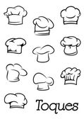 Chef and  baker isolated toques silhouettes — Stock Vector
