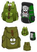 Travel backpacks cartoon characters with pockets — Vector de stock