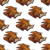 Seamless pattern of wild boars with tusks — Stock Vector