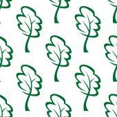 Outline green trees seamless pattern — Vetor de Stock