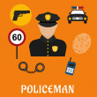 Policeman in uniform with police icons — Stock Vector #77852726
