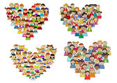 Heart shapes with cartoon kids — Stock Vector