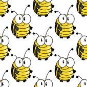 Yellow cartoon striped bugs seamless pattern — Stock Vector