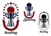 Bowling game icons with trophy cup — Vettoriale Stock