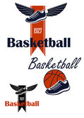 Basketball ball and winged sneakers symbol — Vector de stock