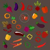 Flat beets, eggplants, chili and bell peppers — Stock Vector