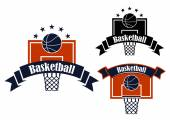 Basketball sporting symbols with sport items — Stock Vector