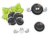 Black currant berry cartoon character — Stock Vector