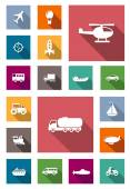 Transportation flat icons with shadows — Stock Vector