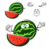 Watermelon fruit cartoon isolated character — Stock Vector