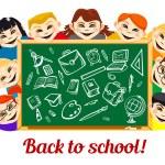 Children behind chalkboard with school supplies — Stock Vector #79767242