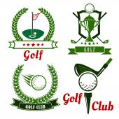 Golf game icons, emblems and symbols — Stock Vector
