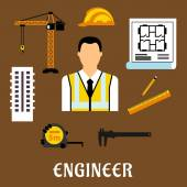Engineer and construction flat icons — Stock Vector