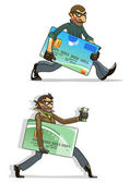 Cartoon thieves with stolen credit cards and money — Stock Vector