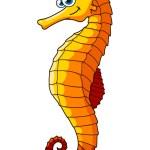Yellow underwater seahorse cartoon character — Stock Vector #79990256