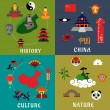China history, culture and nature icons — Stock Vector #80336708