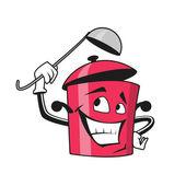 Cartoon saucepan character with ladle — Stock Vector