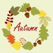 Sonbahar yaprakları ile sezon çerçeve — Stok Vektör