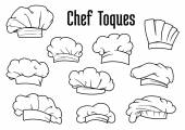 White chef caps and toques set — Stock Vector
