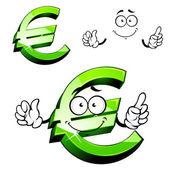 Cartoon isolated green euro sign — Stock Vector