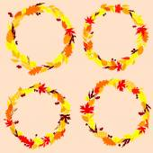 Autumnal leaves wreaths or frames — Stock Vector