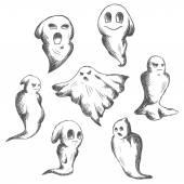 Eerie and danger Halloween ghosts — Stock Vector