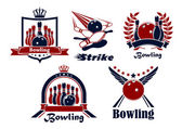 Bowling emblems with game items — Stock Vector