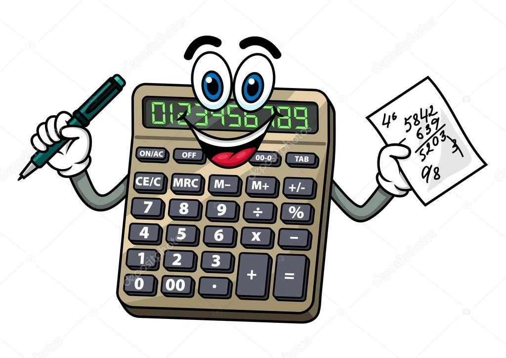 Stock Illustration Cartoon Calculator With Pen And on Point Math