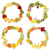 Autumn leaves wreaths with acorns and berries — Stock Vector