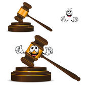 Cartoon isolated fun wooden gavel — Vecteur