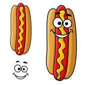 Cartoon hot dog with mustard — Stock Vector