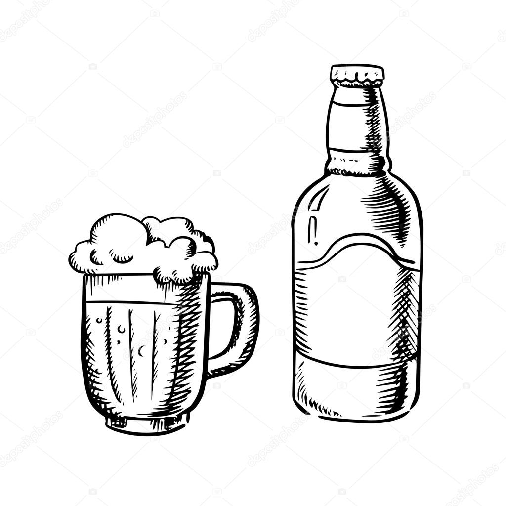Beer bottle and filled tankard — Stock Vector © Seamartini ...