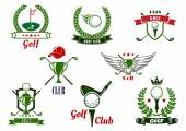 Golf club emblems and icons with game items — Vector de stock