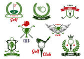 Golf club emblems and icons with game items — Stockvektor