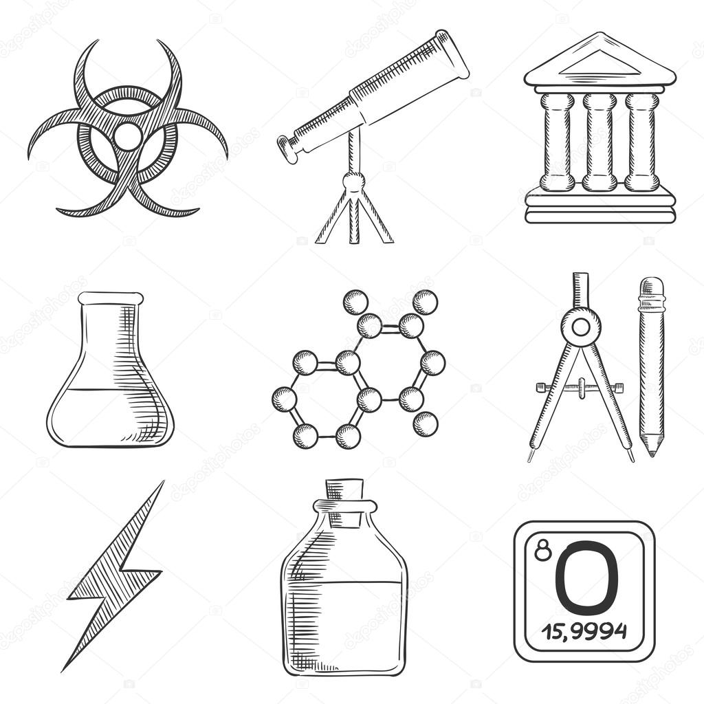 Science and chemistry sketches icons set — Stock Vector ...