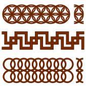 Oriental geometrical seamless borders — Stock Vector